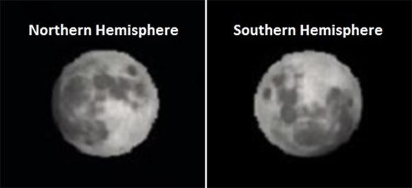 القمر من نصفى الكرة الارضية